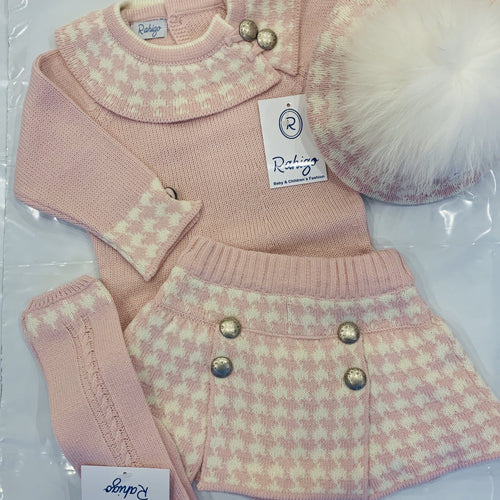 RAHIGO JESSICA BABY PINK DOG TOOTH FOUR PIECE SET