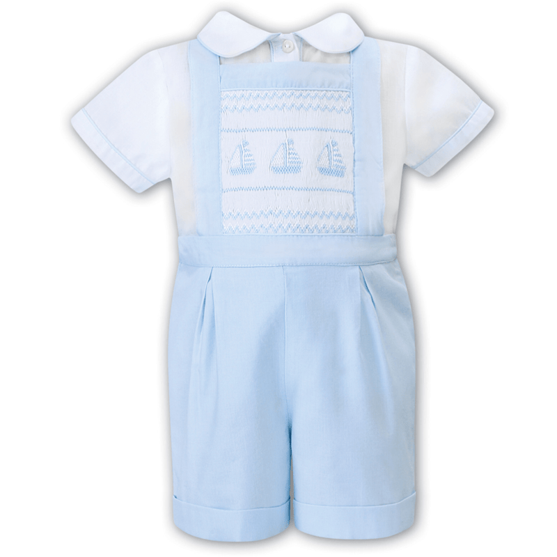 SARAH LOUISE - Boys Boat Smock Dungaree Set - Blue