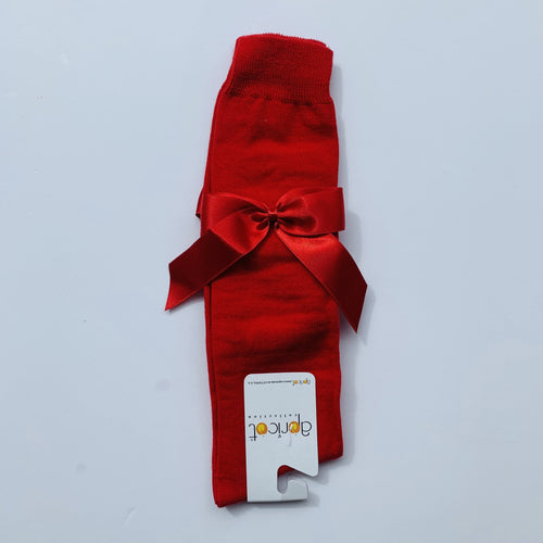 APRICOT RED OVER KNEE  BOW SOCKS