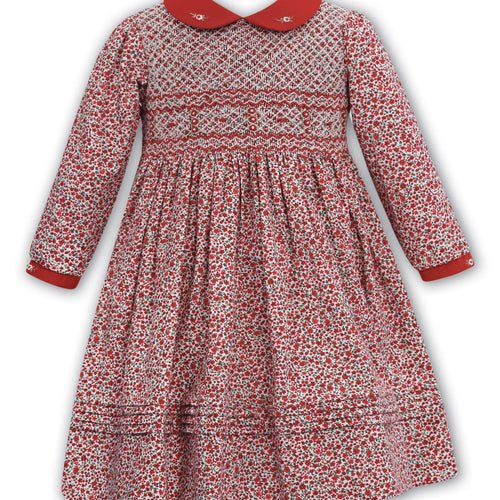 SARAH LOUISE FLORAL RED SMOCKED DRESS WINTER