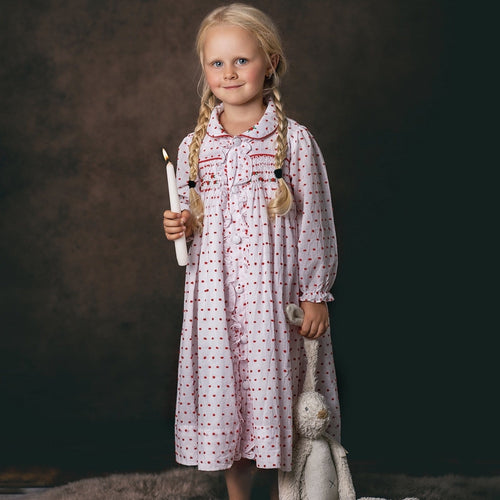 SWISS DOT SMOCKED DRESSING GOWN & MATCHING TWO PIECE SET