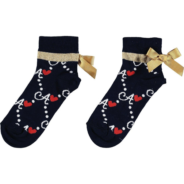 A Dee - Bow Logo Print Ankle Socks - Navy