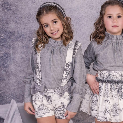 BABINE GREY TOILE SHORTS PINAFORE SET