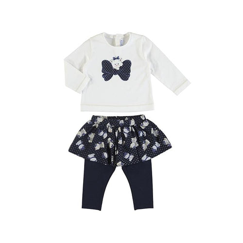 PREORDER MAYORAL TODDLER NAVY KITTY SKIRT LEGGING SET