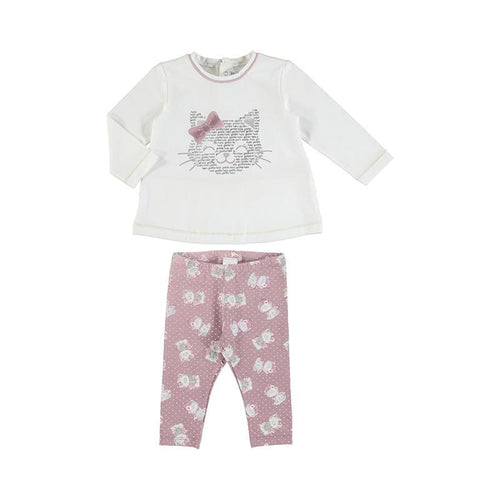PREORDER MAYORAL TODDLER PINK KITTY LEGGING SET