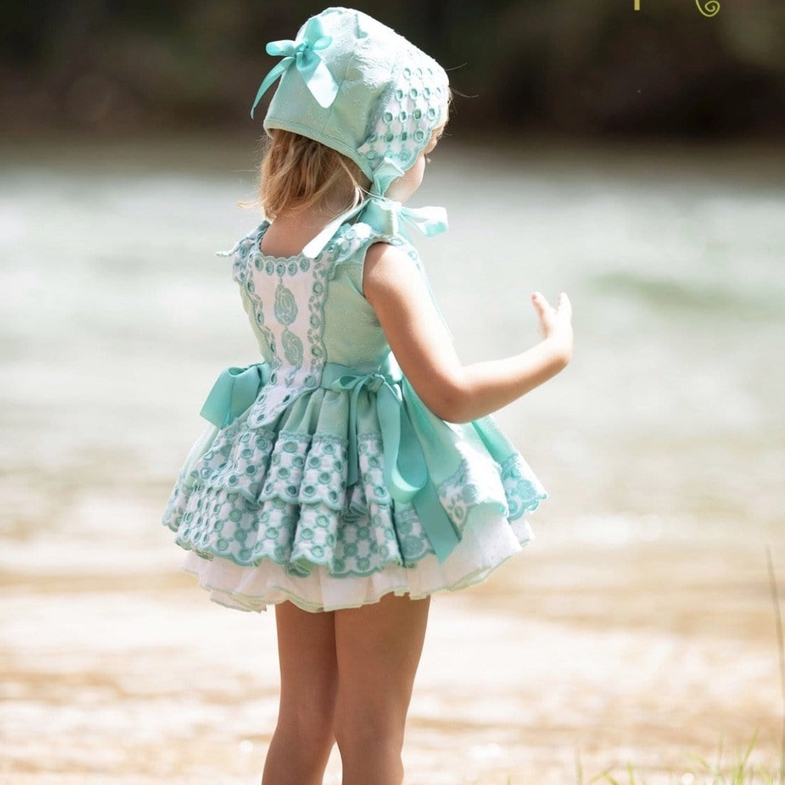 LA AMAPOLA PARADISE MINT BABY DRESS