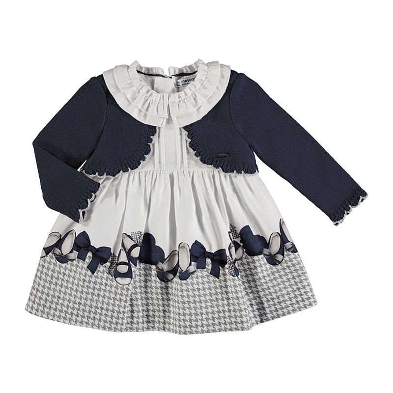 MAYORAL TODDLER NAVY KNIT MIX DRESS