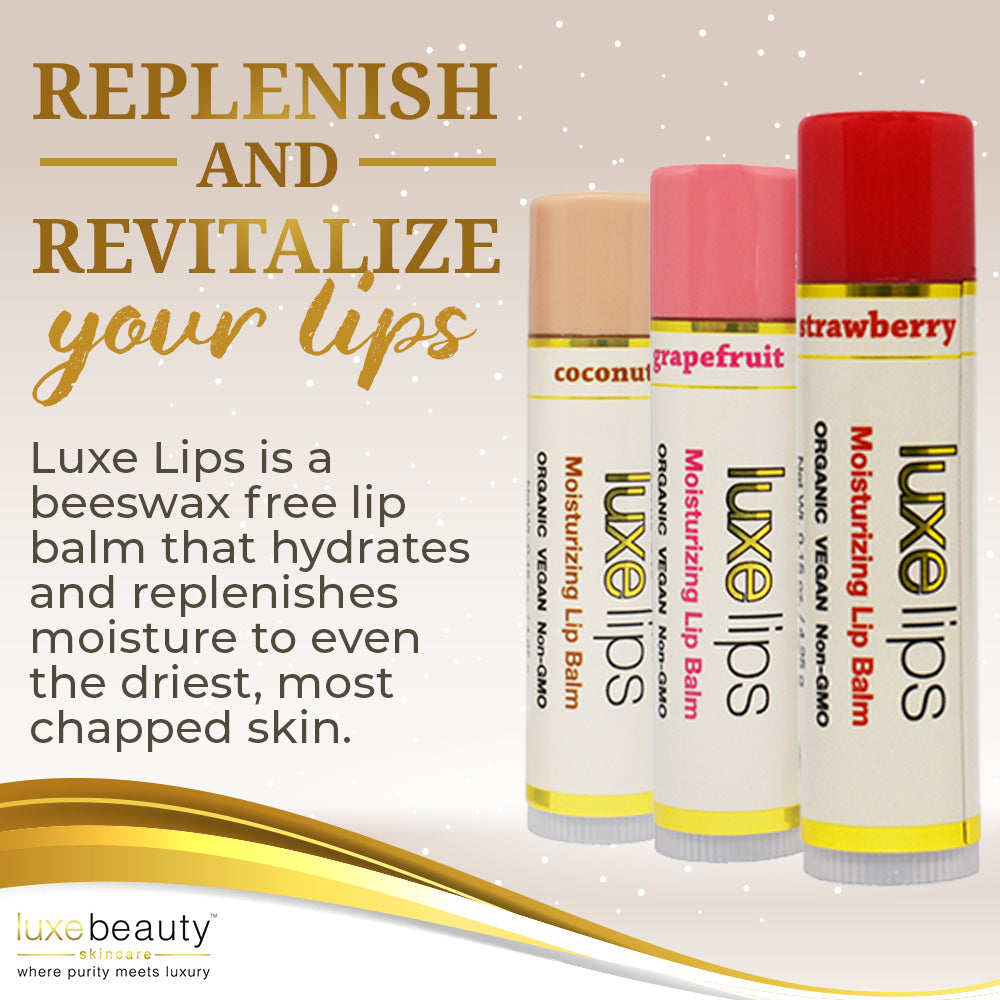 Beeswax Free, Nut Free Lip Balm - Luxe Lips - Strawberry