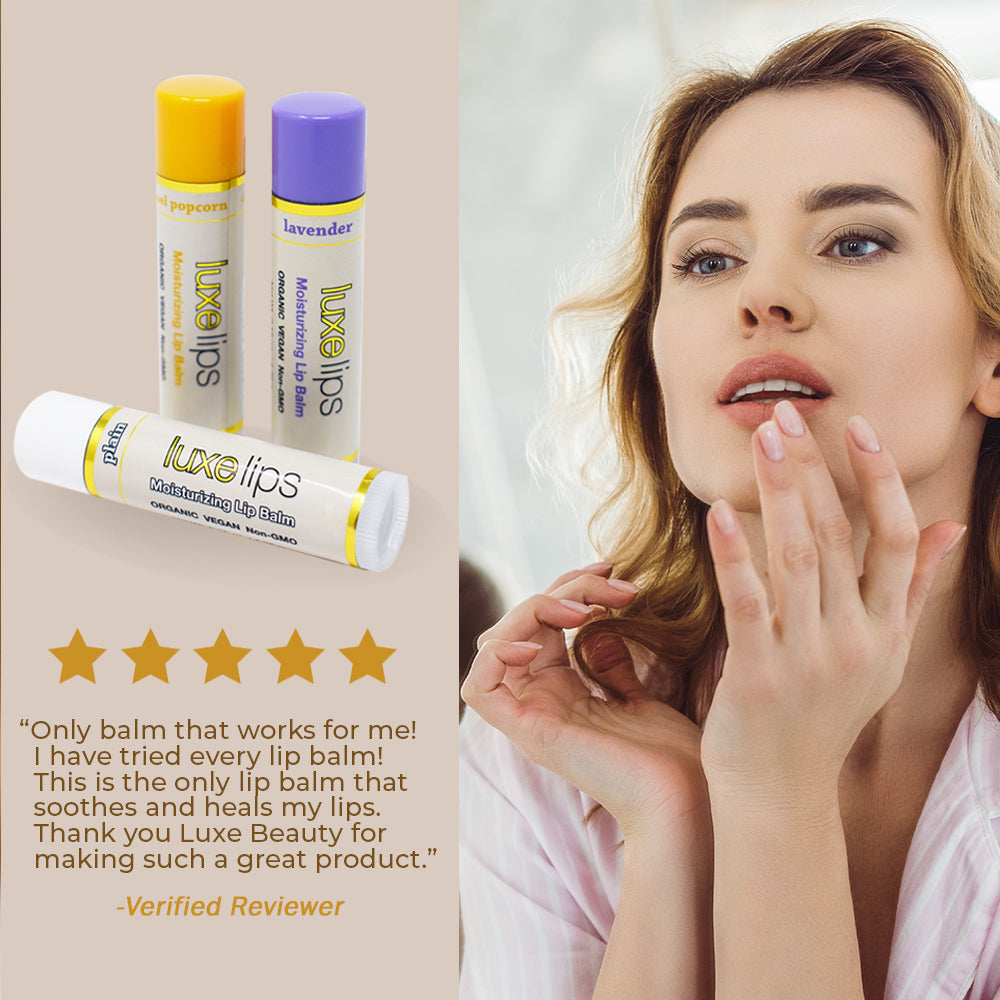 Beeswax Free, Nut Free Lip Balm - Luxe Lips -Lavender