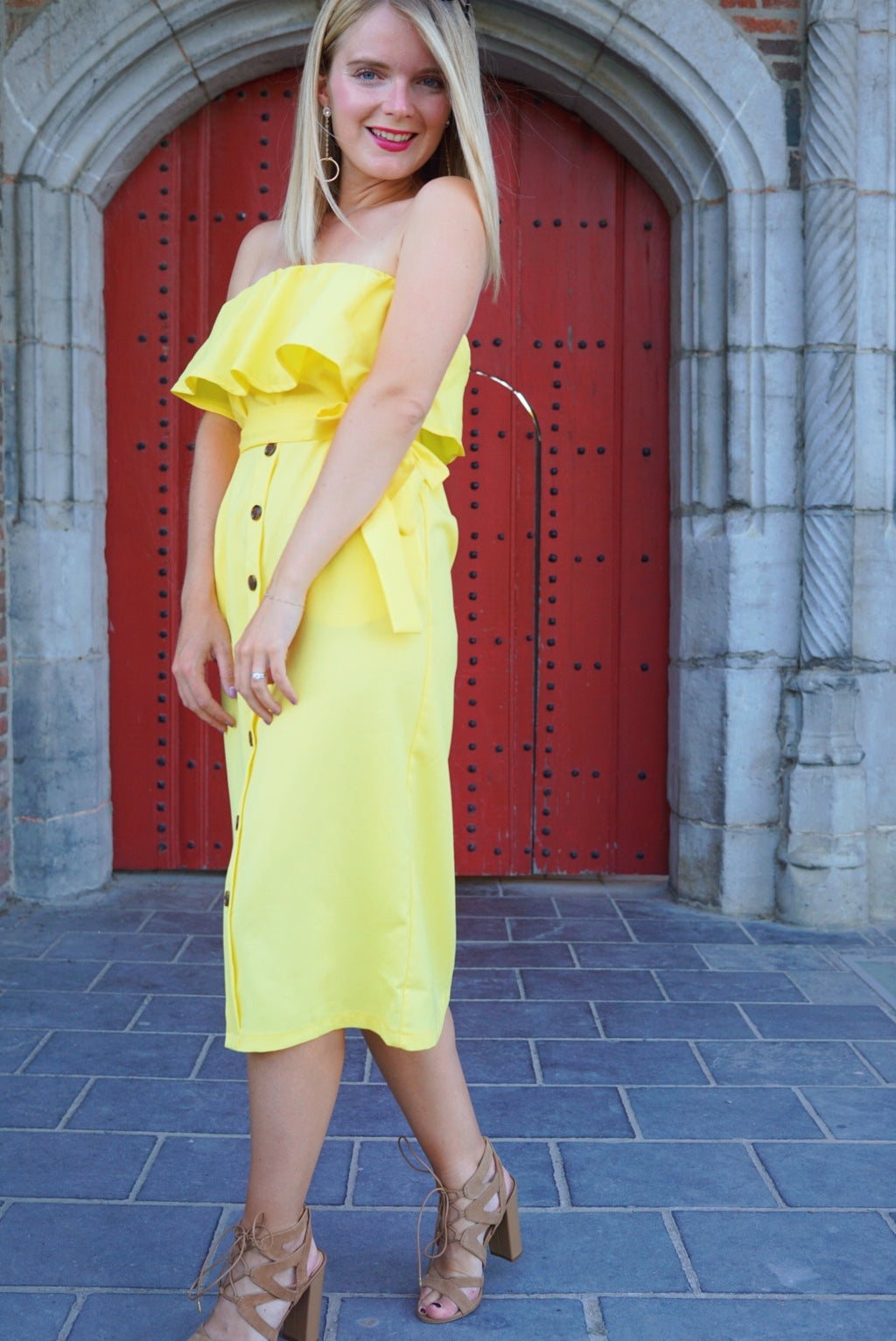 Limonada strapless midi dress