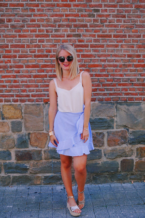 Feel the stripe wrap skirt