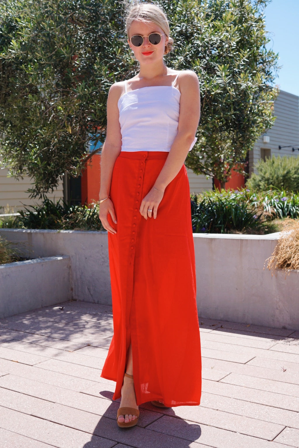 Heart of Hearts red maxi skirt