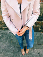 Cruising downtown mauve pink jacket