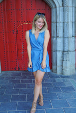 Ruffled up petite denim dress