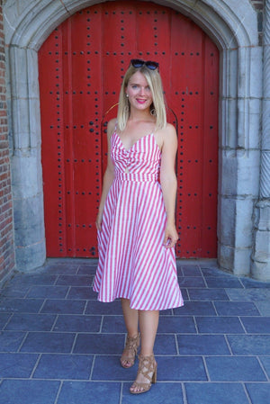 Hot gossip striped midi dress