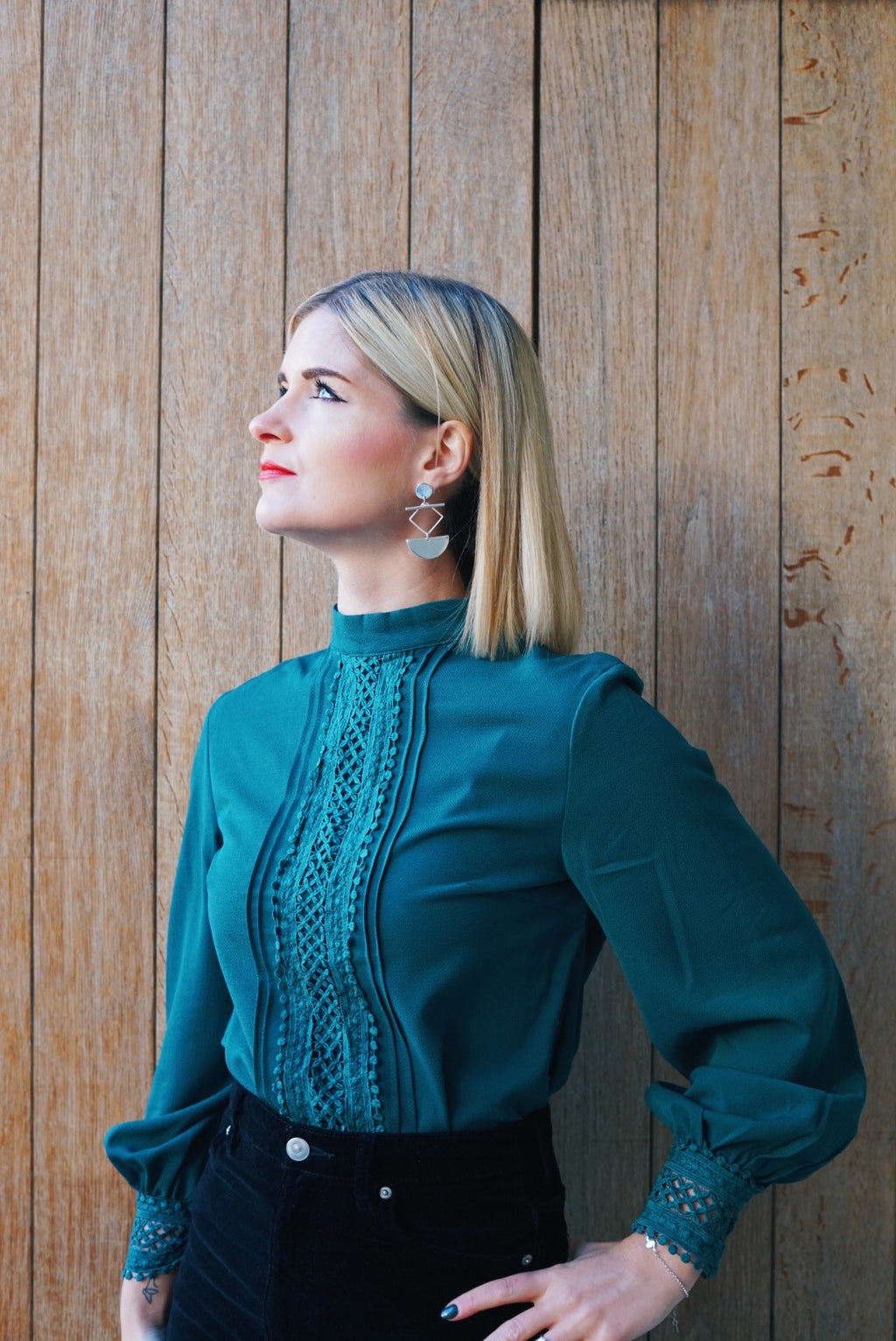 Be your best dark green lace blouse