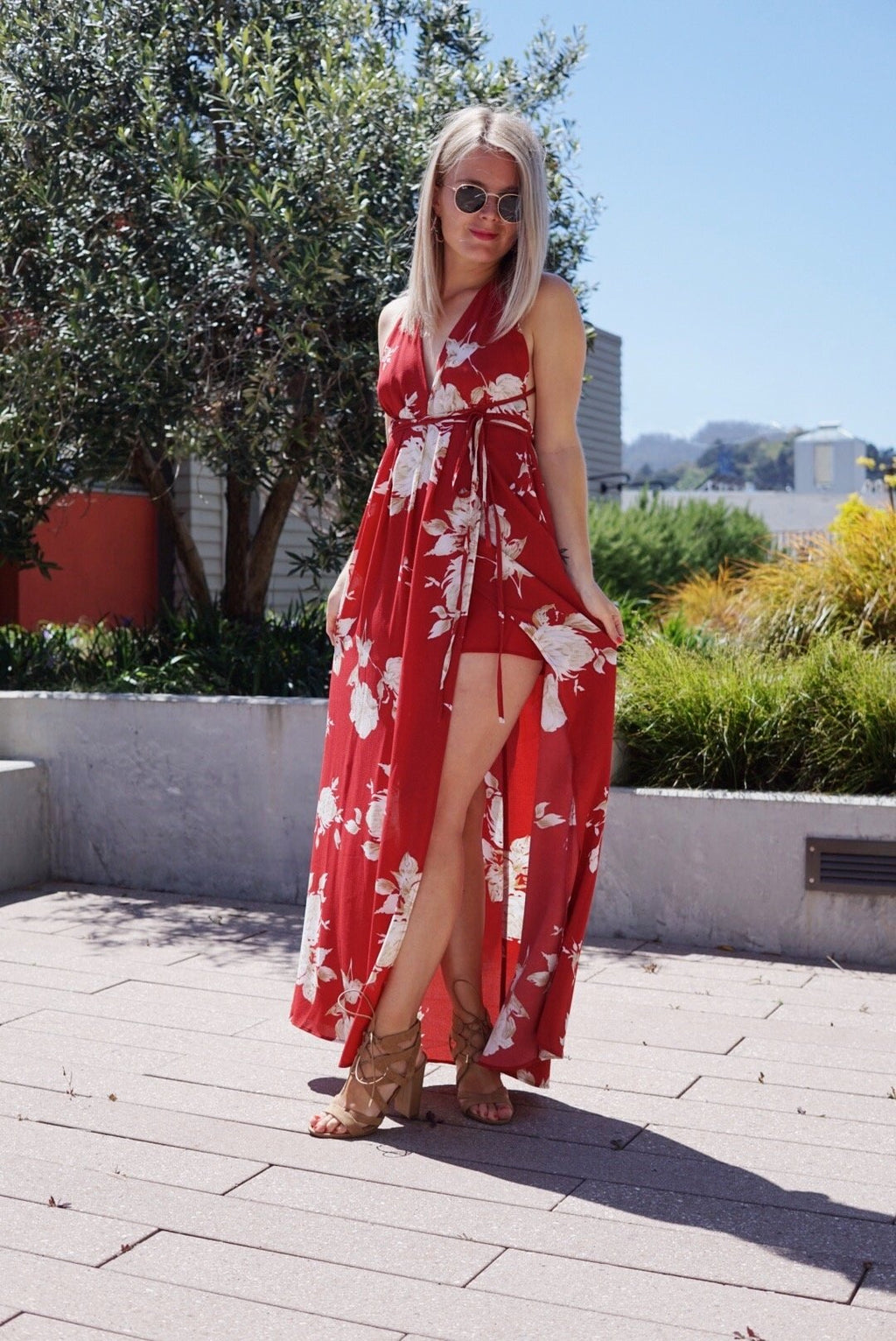 Floral goddess backless maxi dress