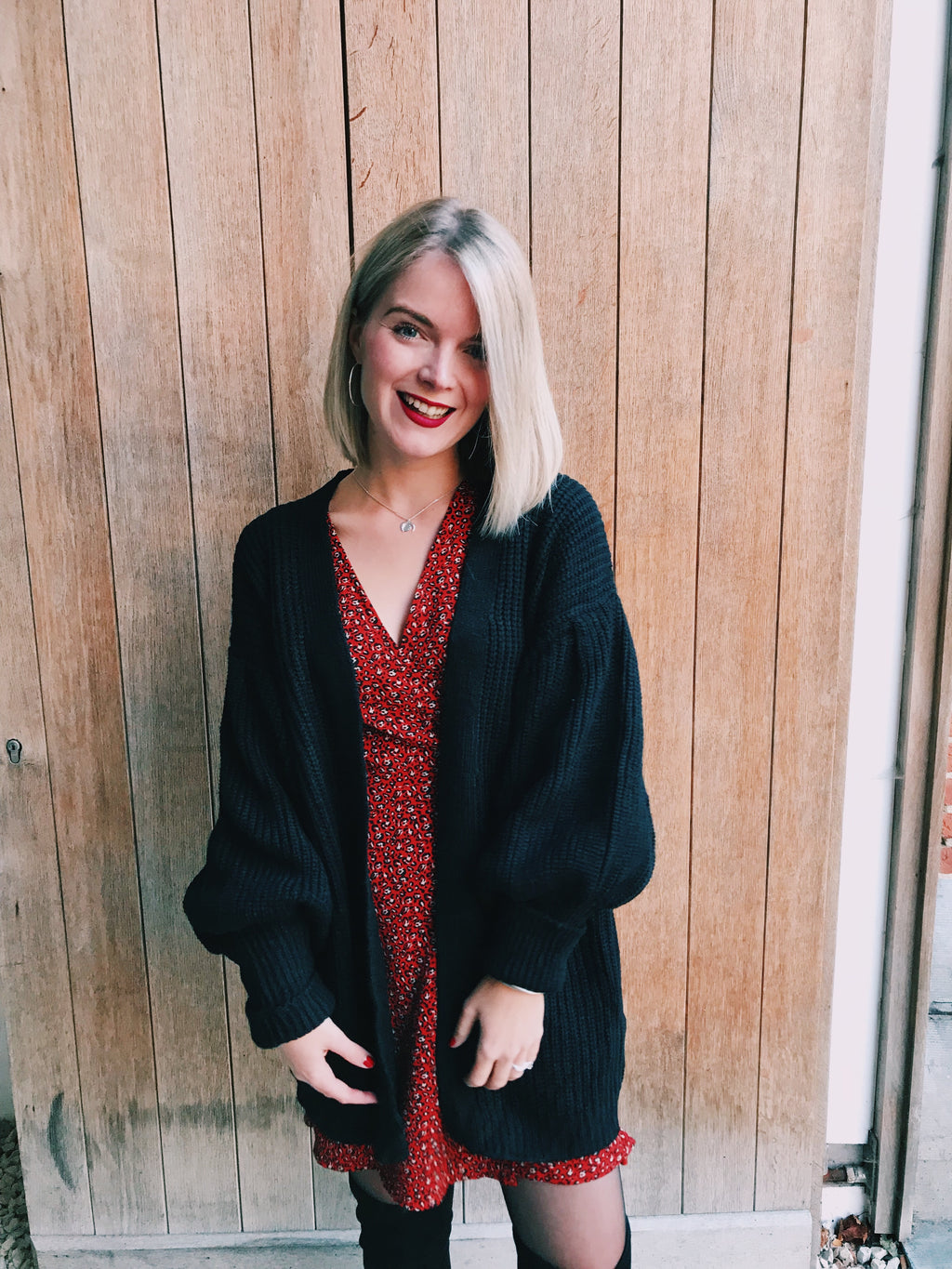 That cozy feeling black oversized knit cardigan
