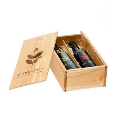 Evoolution Two Bottle Custom Cedar Gift Box