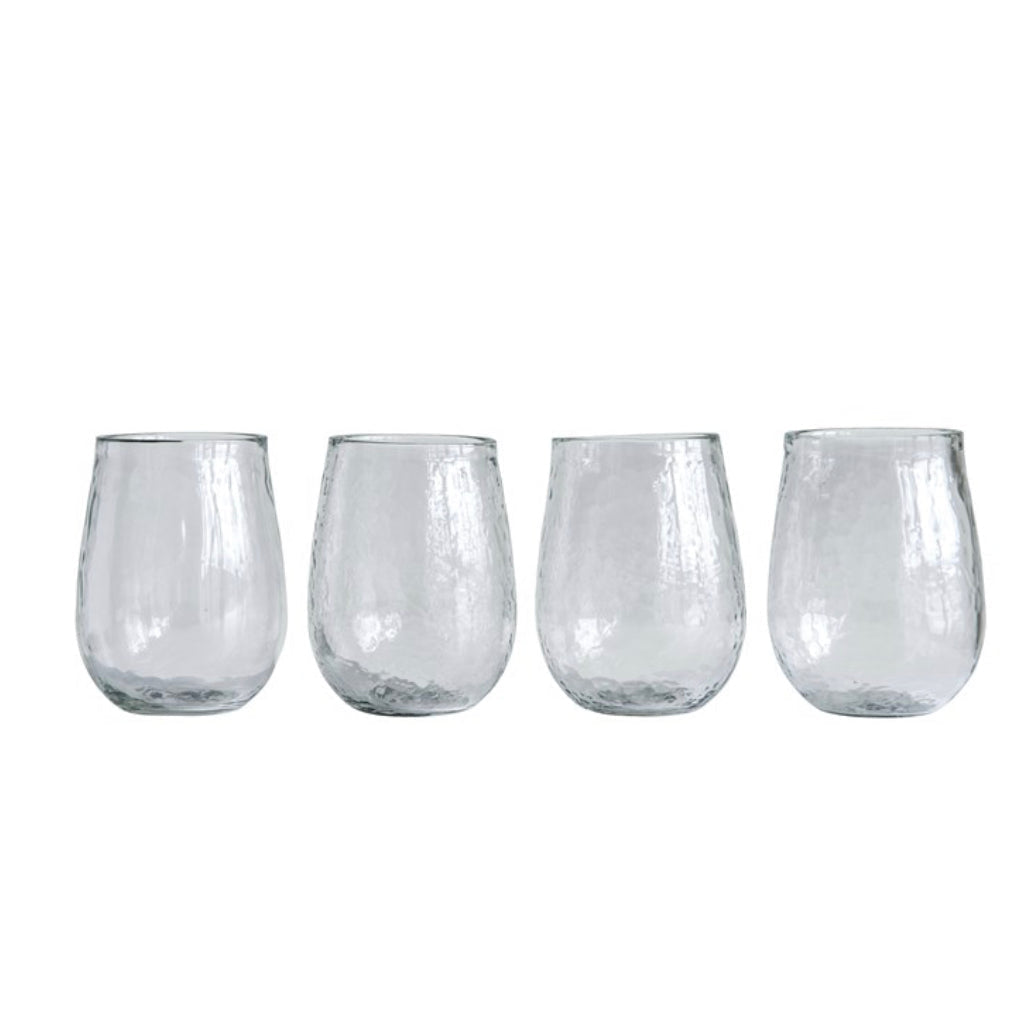 Hand Blown Wine Glasses / set of 4 / 14 oz each
