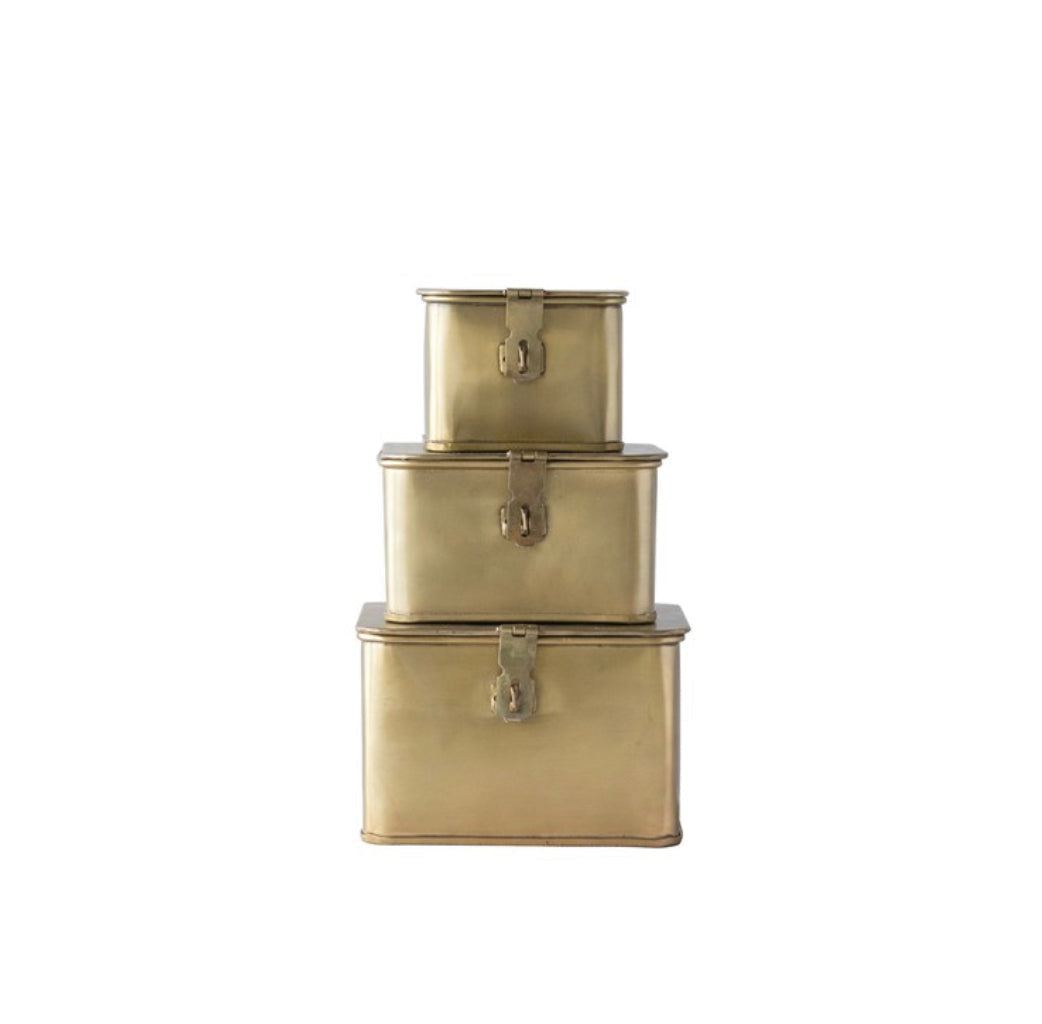 Decorative Boxes / set of 3 / gold