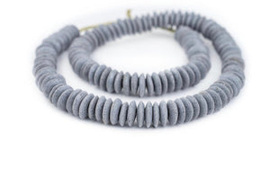 Light Grey Glass Saucer Beads - Handmade