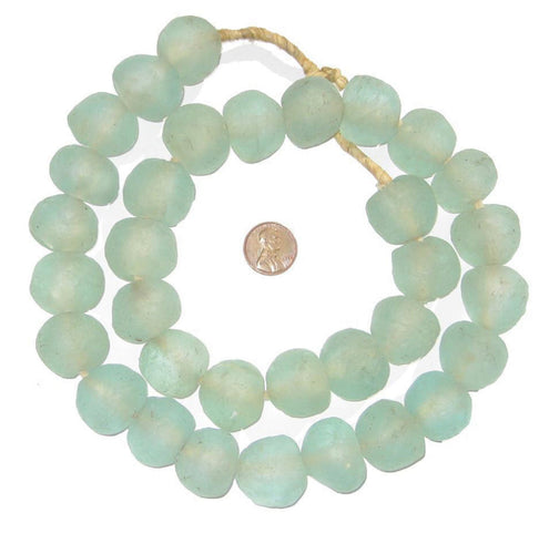 Jumbo Aquamarine Recycled Glass Beads - Handmade