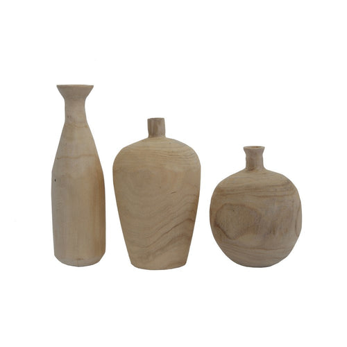 Paulownia Wood Vase / Set of 3