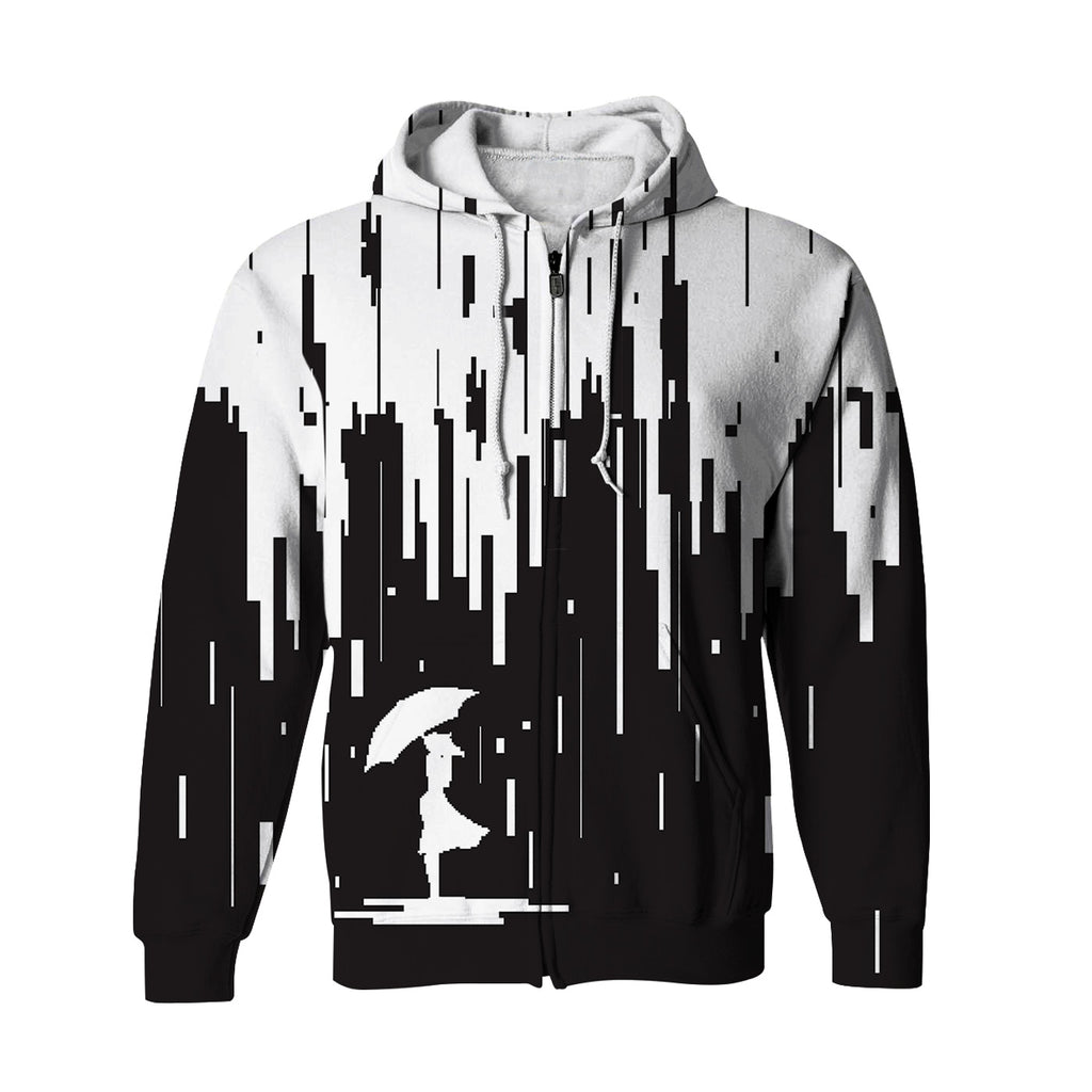 Negative 8-Bit Zip Up Hoodie