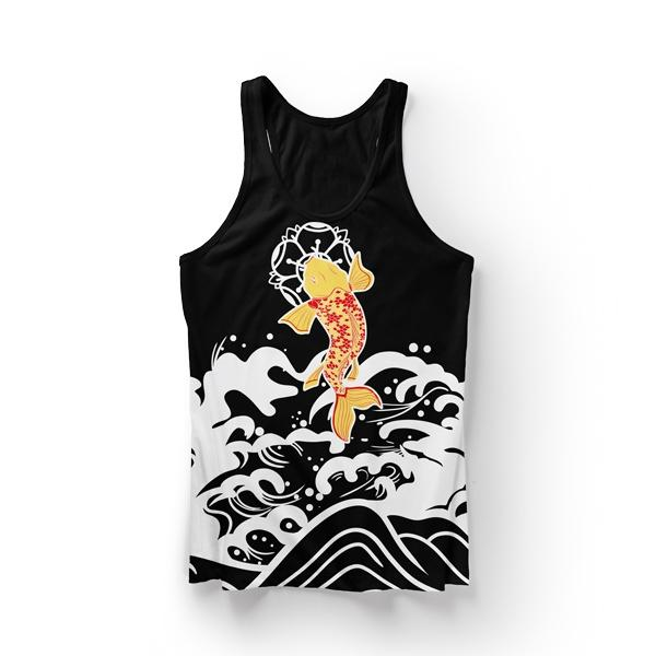 Koi Fish Black Tank Top