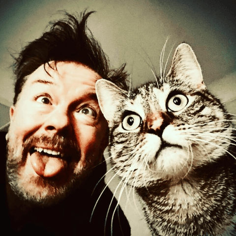 Ricky Gervais and his cat pickles