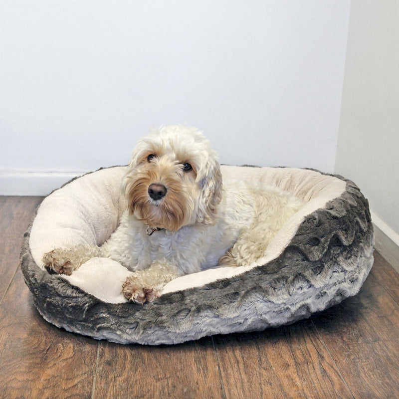 Rosewood Grey/Cream Snuggle Oval Plush Bed