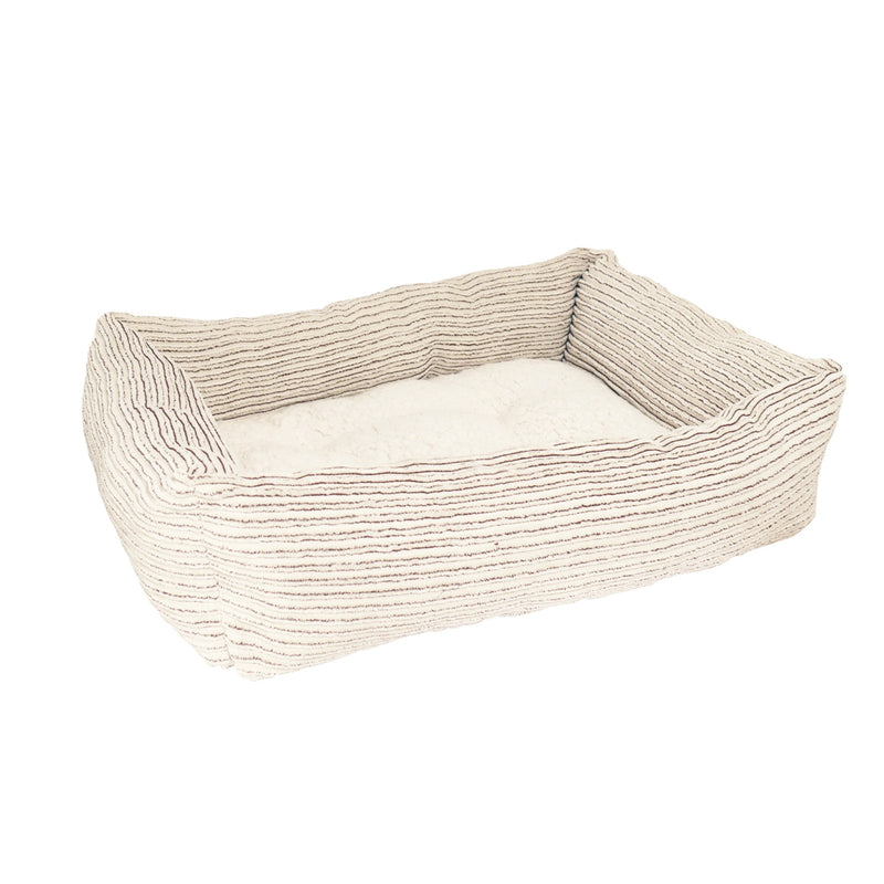 Rosewood Beige Jumbo Cord Teddy Bear Square Dog Bed