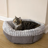 Tweed & Plush Round Cat Bed