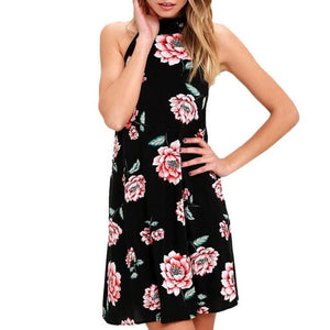 Floral print Sexy Sleeveless backless Halter Dress