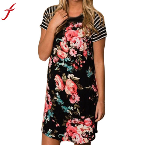 Women's Floral Printing Striped Short Sleeve Patchwork Dress
