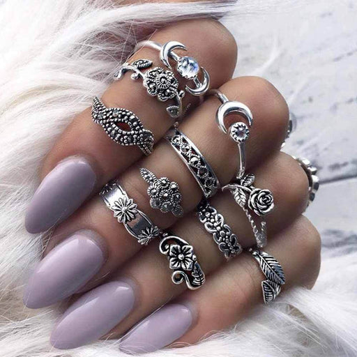 11 Piece Silver Gold Stack Bohemian Above Knuckle Rings