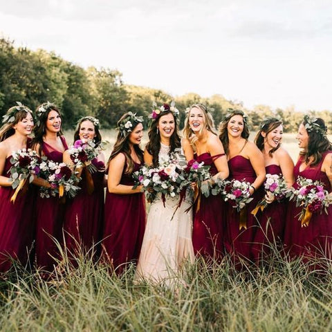 0daf34eb44 We love the statement a bridal party makes dressed in deep red
