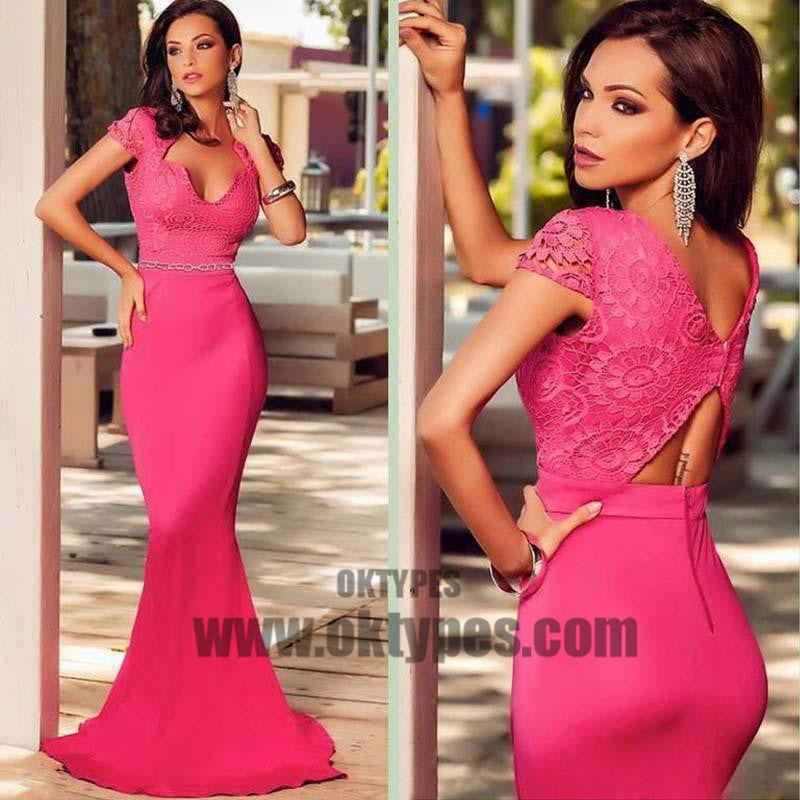 Peach Pink Cap Sleeves Lace Top Prom Dress, Sexy Mermaid Floor Length Prom Dress, Prom Dresses, TYP0319
