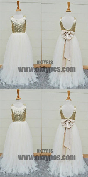 Gold Sequin Top White Tulle Cute Flower Girl Dresses For Wedding Party, TYP0521