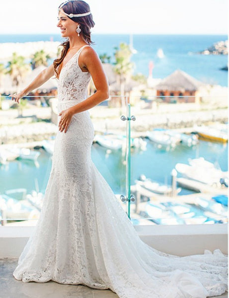 Mermaid Style Lace V-neck Court Train Beach Wedding Dresses, TYP1371