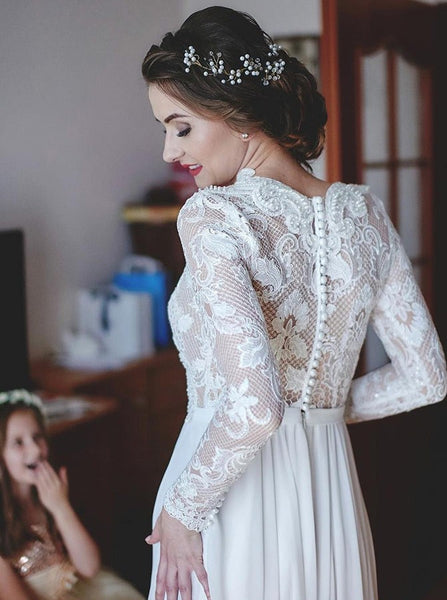A-Line V-Neck Sweep Train Long Sleeve Chiffon Wedding Dresses with Lace, TYP1374