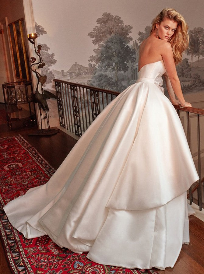A-Line Strapless Long White Satin Wedding Dresses with Bow Knot, TYP1490