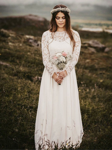 A-Line Bateau Long Chiffon Wedding Dresses with Long Sleeves, TYP1547