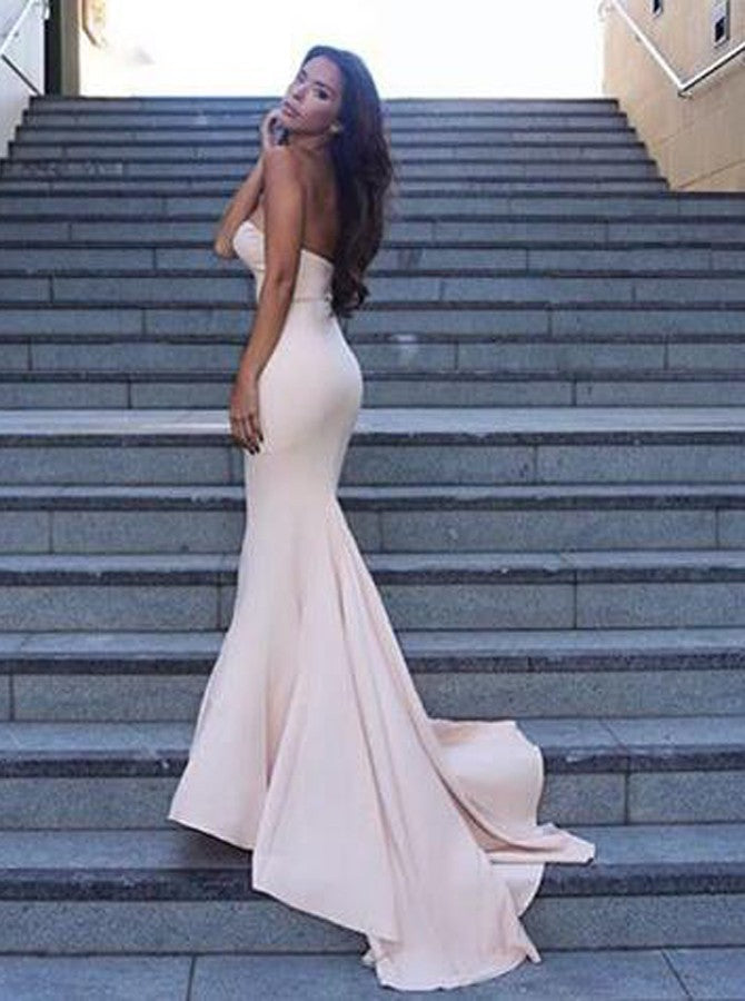 Mermaid Sweetheart Zipper-Up Sweep Train Ivory Prom Dresses, TYP1506