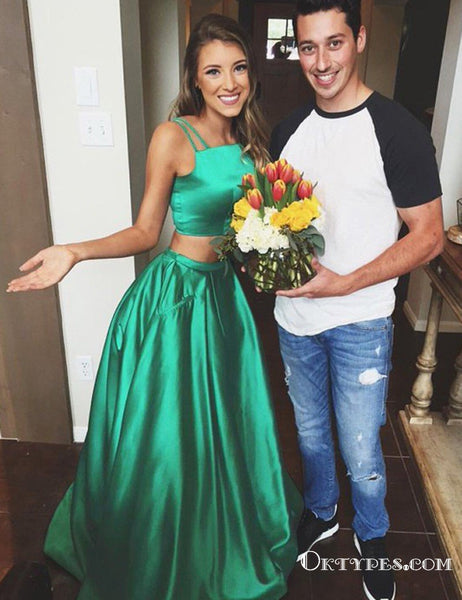 Two Piece Square Long Cheap Green Satin Prom Dresses with Pockets, TYP1824