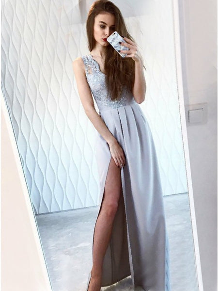 Sexy V-neck Side Slit Grey Satin Prom Evening Dresses with Appliques&Beading, TYP1491