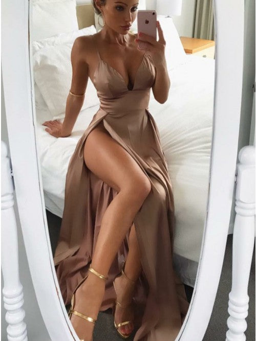 Sexy Spaghetti Straps Brown Soft Satin Prom Evening Dresses with Split, TYP1495