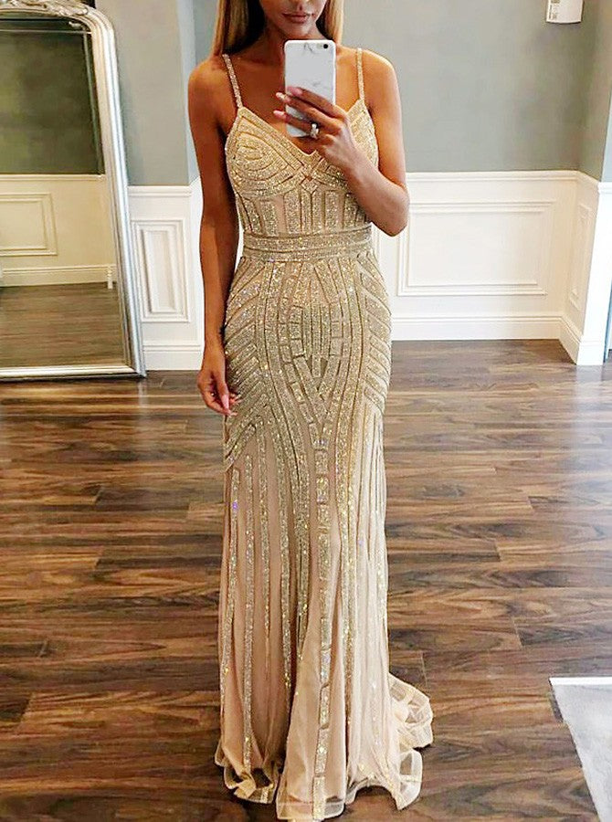Mermaid Spaghetti Straps Long Champagne Prom Dress with Beading, TYP1529