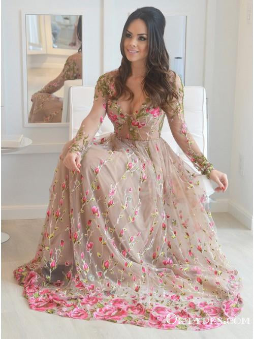 A-Line V-Neck Long Sleeves Champagne Tulle Prom Dresses with Appliques, TYP1921